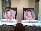 11 Month Old Infant Twins Dance To Dad's Guitar Playing Feel Good Video