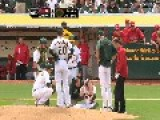 Oakland A's Pitcher Getting Hit In The Head By A Line Drive