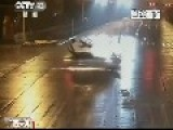 CCTV : Scooter Rider And Passenger Taken Out Hard By Car At Intersection