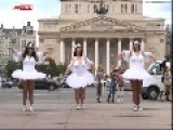 Ballerinas Of The Future Dance In Front Of Bolshoi Theatre. The Future Is Grim