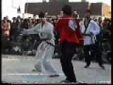 Kung Fu Master Knocking Down Challenger
