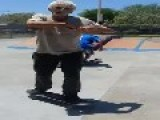 Old Dude Being A Boss On Skateboard