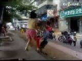 9 Year Old Slim Boy Kicks 40+ Year Old Fat Woman To The Ground In Neighbourhood Fight