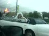 Bride Flashes Booty In Limo