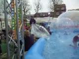 Belgium Vilvoorde City April 30, Fairground Attraction Water Ball Incident : 2 Drunken Boys Take A Shower Between The Children