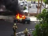 Burning Car Explodes In The Streets Of Los Angeles