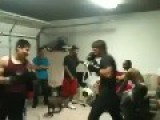 Bloody Boxing Match In Garage