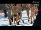Bikini Girls Want To Ski In Cold Winter