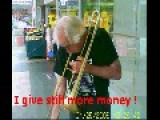 Busking Trombonist I Seen On A Rainy Wet Day In Sydney Australia, Good On Him!