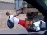 Catching A Ride To School In South Africa