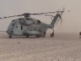CH-53 Super Stallion Helicopters Landing And Take-off & MArines Setting Up Camp