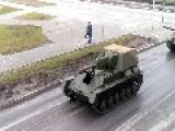 Convoy Of Soviet WW2 Tanks In Pyshma