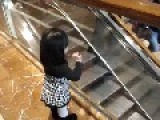 Cute Girl Waving Everyone Goodbye At A Shopping Mall