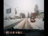 Calm Driver Behind The Wheel And Car Crash On Slippery Road