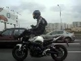 Crazy Biker On His Way To Work