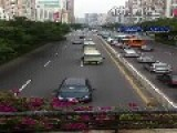 Chinese New President's Convoy Going Thru Street In Guangzhou