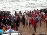 Christmas Day Swimmers Prepare To Take The Plunge Into Icy Water