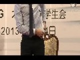 David Beckham Shows His Chinese Tatoo Before University Students