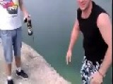 Drunk Idiot Pushes Friend Over Cliff