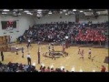 Epic Volleyball Spike!.. Takes Out One Player And One Guy On Sideline