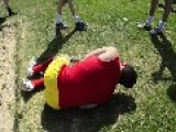 Fat Dude Long Jump Fail.... Over His Mates
