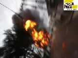 Fuel Storage Fire - Firefighters Run For Safety After An Explosion