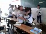 Girls Fighting For Boy Friend In Classroom