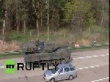 Germany: EXCLUSIVE Leopard Tanks Startle German Sunday Drivers