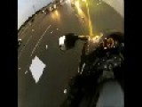 Motorcycle Wipes Out On Freeway