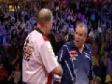 Phil Taylor, Sore Winner, Tries To Start A Brawl On Stage!