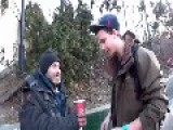 Polish Magician Makes Homeless Guy Happy