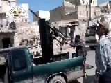 Syria - FSA Shooting At Planes In The Middle Of A Civilian Crowded Street