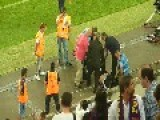 Seven 'men' Trying To Remove Streaker At Camp Nou - Barcelona Vs Santos 08 02 13
