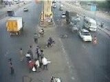 Static Biker Gets Hit By A Car And Survives! Quite Filmy!
