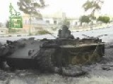 Syria - Burning Tank Rolling Down Hill FULL VIDEO