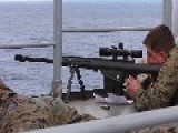 Scout Sniper Platoon Practices Defending Ship From Small Boat Attack With Sniper Fire