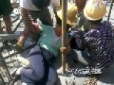 Steel Bar Piercing Thru Female Worker's Buttocks