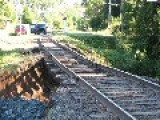 Train Track Washout Surprises Hiking Tourist