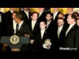 US President Barack Obama Jokes With David Beckham In The White House