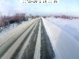Unsuccessful Overtaking And Exciting Flight Of A Car In The Snow