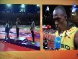 Usain Bolt Interrupts Interview To Recognize American National Anthem!