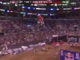 X Games Moto X Rider Leading Race Fist Pumps, Crashes, Loses