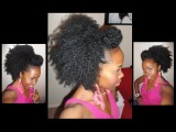 Natural Hair: BIG Side Puff & Pompadour & How To Make A SAFE Ponytail Holder