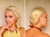 French Fishtail Braid Hairstyles For Medium Long Layered Hair Tutorial Cute Party Updo
