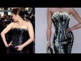 Fashion Design Drawing Lesson #5: Aishwarya Rai's Armani Dress Tutorial