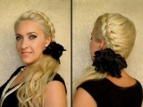 Dutch Braid Tutorial Party Hairstyle For Long Hair Side Ponytail With Curls Winter 2012