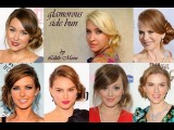Side Bun Wedding Hairstyle For Long Hair Soft Curly Updo Celebrity Prom Hairdo