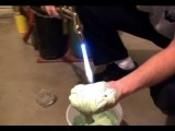 Man Tests Super Insulating Foam By Taking A Welding Torch To His Hand And Then Eating It!